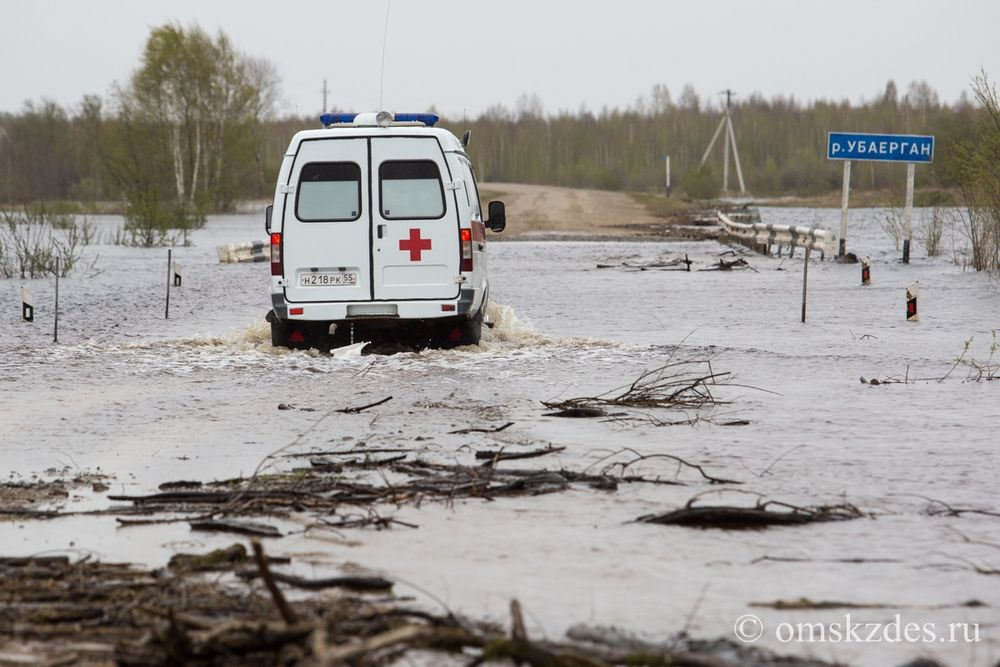 Затопленный участок автодороги Тевриз - Усть-Ишим